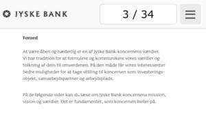 At være åben og hæderlige er en af jyske banks-koncernens værdier og tolkning af dem til omverden. På den måde får vore interessenter bedre muligheder for at tage stilling til koncernen som investeringsobjekt, samarbejdspartner og arbejdsplads. - På de følgende sider kan du læse om jyske banks-koncernens mission, vision og værdier. Det fundament, som koncernen hviler på. - klip på billed og se side 17. ÅBEN og HÆDERLIG og SUND FORNUFT. :-) - Side 2 forord i jyske banks fundament