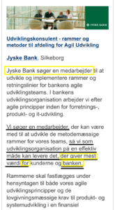 jyske bank søger medarbejder, til at rådgive om hvad der giver jyske bank flest penge, eller er det forkert