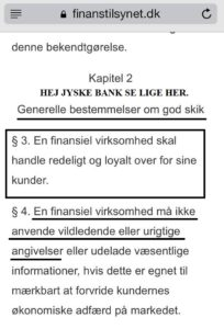 God skik for banker, alle andre banker overholder disse regler fra finanstilsynet, Jyske bank er af en anden opfattelse, og siger ellers tak de regler skal vi ikke overholde, for jyske bank er en anderledes bank.