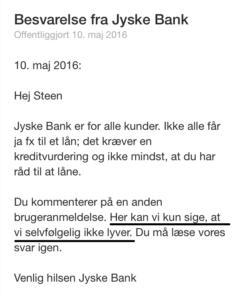 Jyske bank skriver at de selvølge ikke lyver
