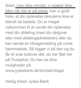 Jyske bank stjæler ikke HVAD HANDEN KALDER JYSKE BANK SÅ DETTE HER FOR
