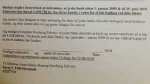 22-08-2018 Til de 13 medlemmer af DIRIKTIONEN Jyske bank