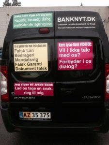 Gratis reklame på biler til jyske bank og LES.dk