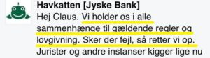 Jyske bank påstår banken overholder alle love og regler