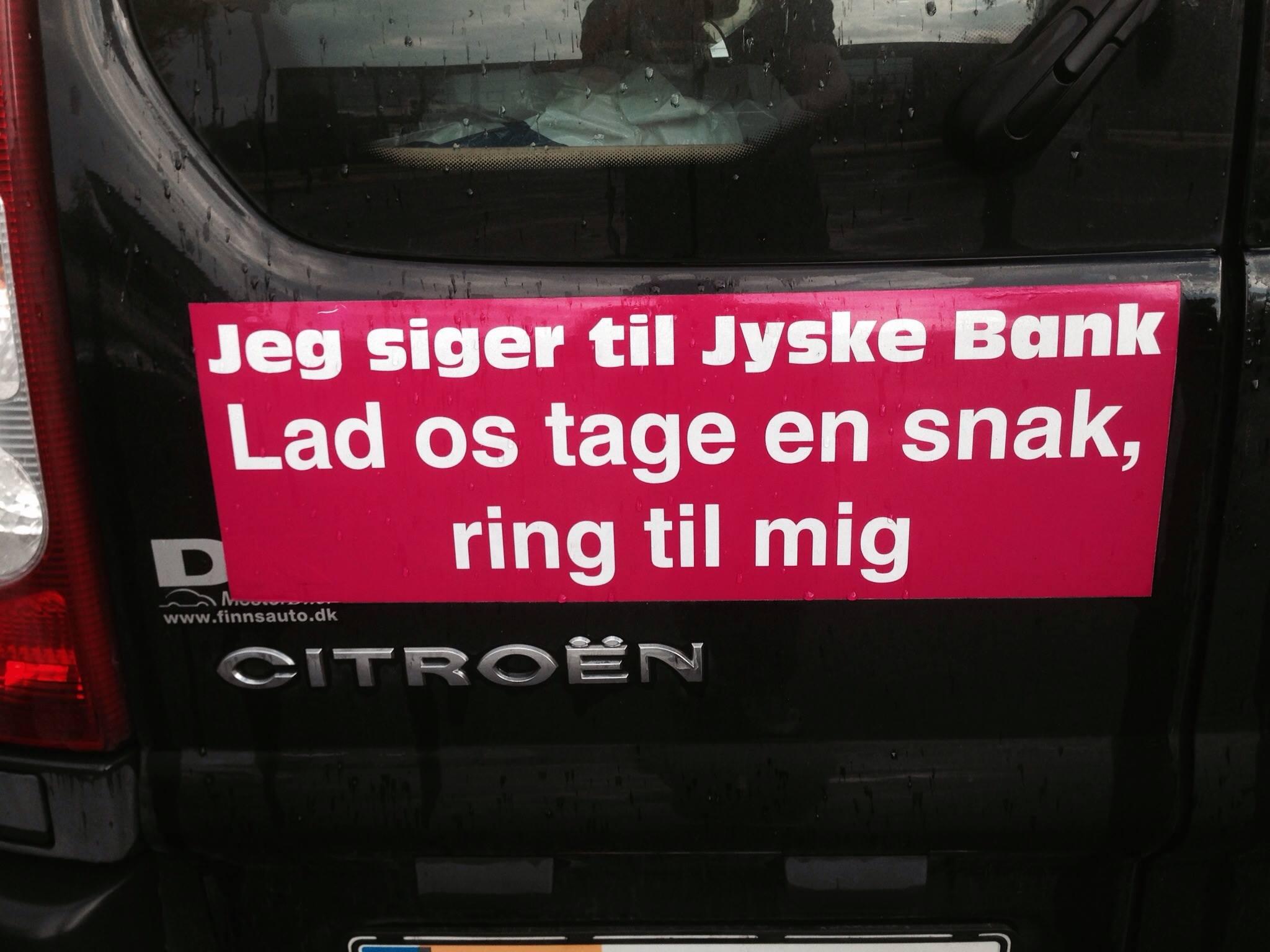 Kære Jyske bank, PRØV AT TALE MED OS. Codan GF Forsikring BRF kredit Totalkredit Nykredit Boxen ...