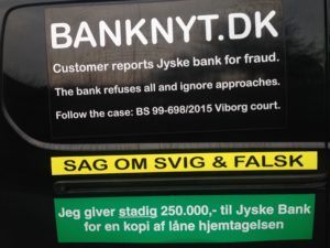 IMG_2656 / JYSKE BANKs SVINDEL / FRAUD - CALL / OPRÅB :-) Can the bank director CEO Anders Dam not understand We only want to talk with the bank, JYSKE BANK And find a solution, so we can get our life back We are talking about The last 10 years, the bank provisionally has deceived us. The Danish bank took 10 years from us. :-) Please talk to us #AndersChristianDam Rather than continue deceive us With a false interest rate swap, for a loan that has not never existed We write, and write, and write, while the bank continues the very deliberate fraud which the entire Group Board is aware of. :-) :-) A case that is so inflamed, that not even the Danish press does dare comment on it. do you think that there is something about what we are writing about. Would you ask the bank management Jyske Bank Link to the bank further down Why they will not answer their customer And deliver a copy of the loan, 4.328.000 DKK as the bank claiming the customer has borrowed i Nykredit As the Danish Bank changes interest rates, for the last 10 years, Actually since January 1, 2009 - Now the customer discovered and informed the Jyske Bank Jyske 3-bold Bank May 2016 that there was no loan taken. We are talking about fraud for millions, against just one customer :-) :-) Where do you come into contact with a fraudster who just does not want to stop deceiving you Have tried for over 2 years. DO YOU HAVE A SUGGESTION :-) from www.banknyt.dk Startede i jyske bank Helsingør I.L Tvedes Vej 7. 3000 Helsingør Dagblad Godt hjulpet af jyske bank medlemmer eller ansatte på Vesterbro, Vesterbrogade 9. Men godt assisteret af jyske bank hoved kontor i Silkeborg Vestergade Hvor koncern ledelsen / bestyrelsen ved Anders Christian Dam nu hjælper til med at dette svindel fortsætter Jyske Banks advokater som lyver for retten Tilbød 2-11-2016 forligs møde Men med den agenda at ville lave en rente bytte på et andet lån, for at sløre svindlen. ------------ Journalist Press just ask Danish Bank Jyske bank why the ba