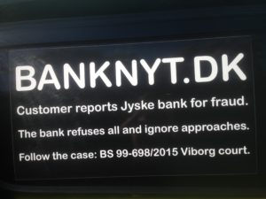 IMG_3090 / JYSKE BANKs SVINDEL / FRAUD - CALL / OPRÅB :-) Can the bank director CEO Anders Dam not understand We only want to talk with the bank, JYSKE BANK And find a solution, so we can get our life back We are talking about The last 10 years, the bank provisionally has deceived us. The Danish bank took 10 years from us. :-) Please talk to us #AndersChristianDam Rather than continue deceive us With a false interest rate swap, for a loan that has not never existed We write, and write, and write, while the bank continues the very deliberate fraud which the entire Group Board is aware of. :-) :-) A case that is so inflamed, that not even the Danish press does dare comment on it. do you think that there is something about what we are writing about. Would you ask the bank management Jyske Bank Link to the bank further down Why they will not answer their customer And deliver a copy of the loan, 4.328.000 DKK as the bank claiming the customer has borrowed i Nykredit As the Danish Bank changes interest rates, for the last 10 years, Actually since January 1, 2009 - Now the customer discovered and informed the Jyske Bank Jyske 3-bold Bank May 2016 that there was no loan taken. We are talking about fraud for millions, against just one customer :-) :-) Where do you come into contact with a fraudster who just does not want to stop deceiving you Have tried for over 2 years. DO YOU HAVE A SUGGESTION :-) from www.banknyt.dk Startede i jyske bank Helsingør I.L Tvedes Vej 7. 3000 Helsingør Dagblad Godt hjulpet af jyske bank medlemmer eller ansatte på Vesterbro, Vesterbrogade 9. Men godt assisteret af jyske bank hoved kontor i Silkeborg Vestergade Hvor koncern ledelsen / bestyrelsen ved Anders Christian Dam nu hjælper til med at dette svindel fortsætter Jyske Banks advokater som lyver for retten Tilbød 2-11-2016 forligs møde Men med den agenda at ville lave en rente bytte på et andet lån, for at sløre svindlen. ------------ Journalist Press just ask Danish Bank Jyske bank why the ba