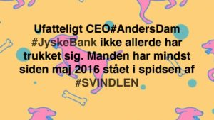 JYSKE BANK taget med hånden i #kagedåsen JYSKE BANK snød kunde og bedrager kunde for millioner, bestyrelsen sørger selv for at bedrageri imod kunde ikke opklares og stoppes, på trods af bestyrelsens viden om bedrageri / svig Se mere på www.banknyt.dk Del 1. http://banknyt.dk/opslag-20-08-2018-fb/ Del 2. http://banknyt.dk/opslag-20-08-2018-facebook-del-2/ - DEN DANSKE BANK, JYSK EBANK UNDERSØGES FOR § 279. For #bedrageri § 280. For #mandatsvig § 281. For #afpresning § 282. For #åger § 283. For #skyldnersvig Kunden er ikke i tivl, bankens ledelse ved DIRIKTØR Anders Dam bevidst og uhæderligt har valgt at fortsætte bedrageri i mod kunde, et bedrag det har forgået siden 2008 / 2009 til mindst 1 septemper 2018 Men jyske bank ønsket ikke dialog, derfor har kunde og den samlede familie skrævet til deres advokat VI ØNSKER EN DOM Med sigte på at jyske bank dømmes for bedrageri, og Jyske Banks koncern bestyrelse gøres personlig ansvarlig for det bedrageri de har kendt til, mindst siden april 2016 - Svig af en vis grovere karakter er kriminaliseret i en række forbrydelser. Den mest almindelige svigsforbrydelse er bedrageri. Svig kan bestå i, at forhold forties at der siges noget urigtigt mod bedre vidende. Flere af Jyske Banks afdelinger, lige som flere personer har været sammen om dette her svig mod bankkunde Kunde tilbyder stadig at gennemgå sagen med jyske bank og deres advokater Lund Elmer Sandager På trods at kunde har taget jyske Banks advokater, og dermed jyske bank for at lyve processuelt for retten :-) Problemet i jyske bank er at bedraget er udført udspekuleret ved hjælp af flere ansatte Ansat i flere afdelinger, men som nu styres fra bestyrelsen Vestergade i Silkeborg Et #bedrageri som den samlede koncern ledelse ikke tager afstand fra, og derfor støtter bestyrelsen fortsat bedrageri af lille #virksomhed :-) #Bestyrelsen i #jyskebank #SvenBuhrkall #KurtBligaardPedersen #RinaAsmussen #PhilipBaruch #JensBorup #KeldNorup #ChristinaLykkeMunk #JohnnyChristensen #Marianne