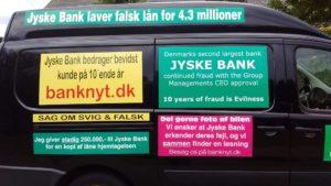 Jyske Banks koncern ledelse Støtter at Anders Dam lader jyske bank fortsat bedrage bankkunde så længe som overhoved muligt En sag som må have en dom, da jyske bank selv er ligeglade med loven, og nægter at holde op med at udsætte kunde for bedrageri Og til koncern ledelsen i jyske bank man må altså heler ikke lyve for at vildlede kunde til at tro de har lånt nogle penge, som jyske bank så kan tage millioner for i rente Heller selv om kunden er meget syg efter blandt andet en Hjerneblødning og muligvis ikke kommer på højkant igen. At jyske Bank vælger at lyve overfor sin bankkunde, SYG ELLER IKKE SYG for at kunne besvige sin kunde, det er RENT ONDSKAB Men det er jo en grundholdning som bestyrelsen i jyske bank er enige om, siden banken fortsat udnytter deres magt til at bedrage kunde