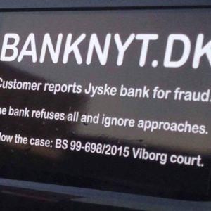 Banknyt BS 99-698/2015 Sagen mod jyske bank om nu svig og falsk Altså bedrageri af kunde i banken