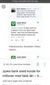 Jyske bank laver bedrageri Men nægter at lade være Der kræves indrømmelser og undskyldninger, hvilket jyske bank nægter, imens bestyrelsen lader kunde fortsat bedrage