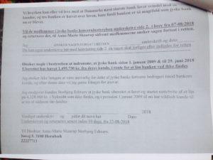 Tilbud fremsendt til ledelsen i jyske bank Er afvist Anders Dam henviser 20-09-2028 til sagen er i retten og vil svare der.