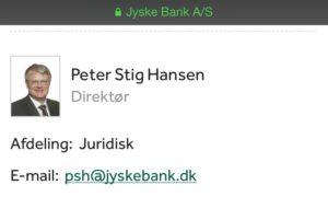 Kunne også spørger PETER STIG HANSEN som er chefen i jyske bank og nok har anbefalet Anders Dam at lade bedraget fortsætte Vi ønsker dialog Nogle må tage fejl Er det os ? Så hjælp da, men er det bedrageri så hold da op. - Bedrageri er umenneskeligt