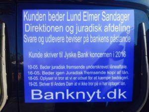 Kunde har skrevet mange gange til Koncernledelsen og bankens advokater, som Lund Elmer Sandager siden april 2016 og oplyst at mene dette her var et kæmpe bedrageri - Jyske Bank er ligeglade og fortsætter bedraget