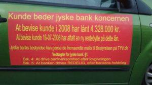 I Jyske Banks vedtægter skriver banken, at jyske bank skal være redelig. - Men vore sag viser noget andet. - Vi ønsker en løsning - - Selv om det bliver meget svært at giver os de 10 år. tilbage - som Banken under et snedigt bedrageri stjal fra os.